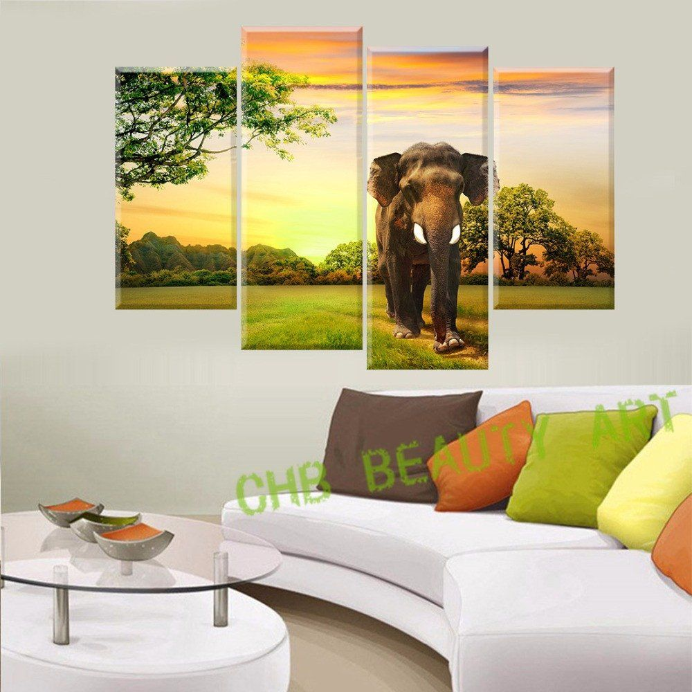 4 Panels Elephant Canvas painting Home Decor Wall Art Prints of ...