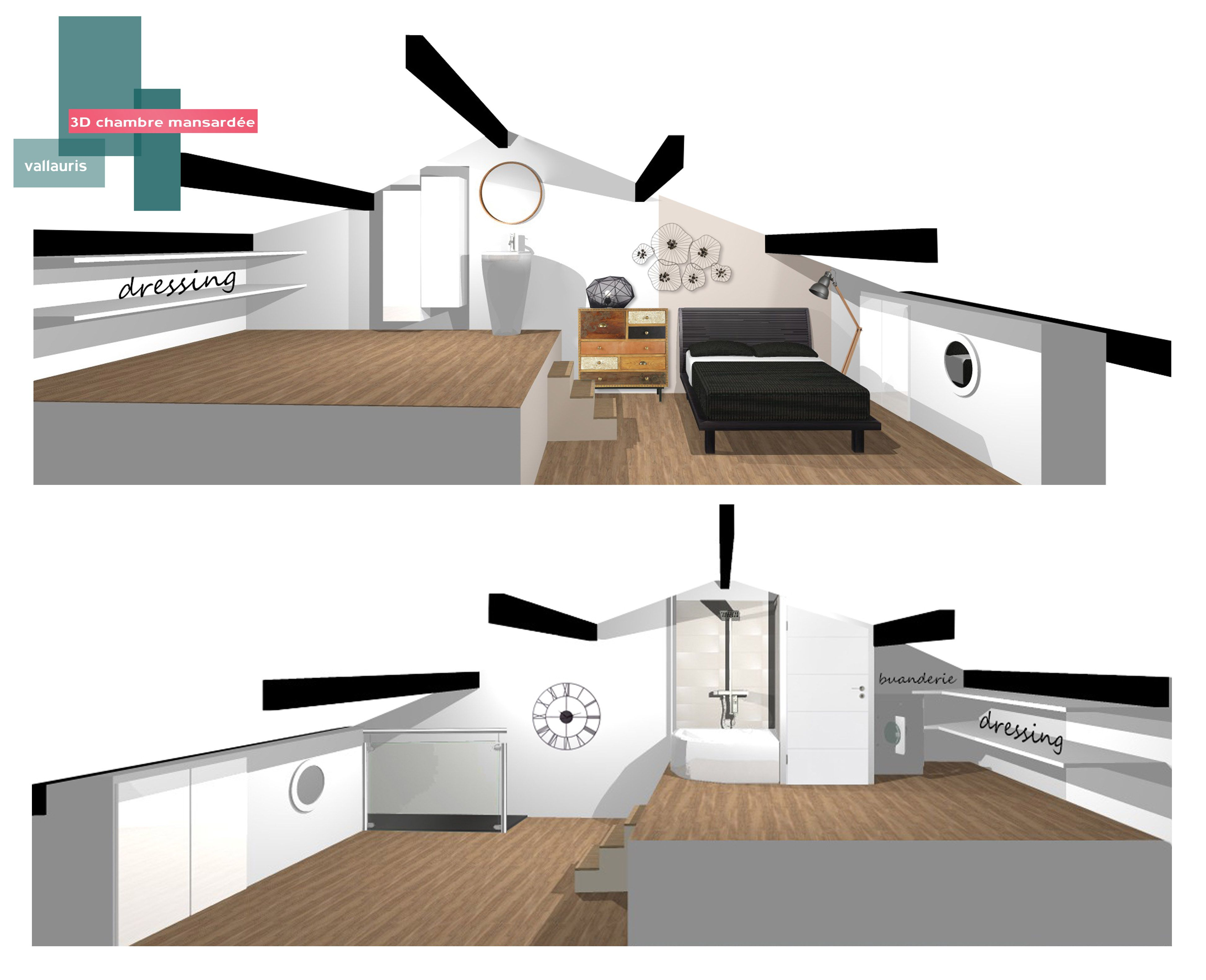 impressionnant am nagement chambre mansard e. Black Bedroom Furniture Sets. Home Design Ideas