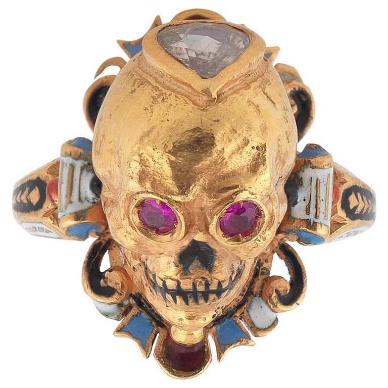 A Codognato Enamel Ruby Diamond Skull Ring Diamond Skull Skull Skull Ring