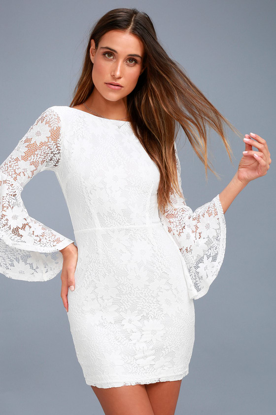 Lulus Allure Em In White Lace Bell Sleeve Bodycon Dress