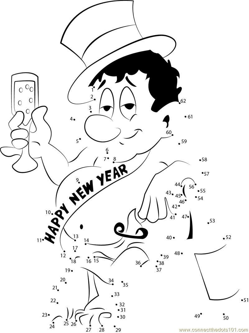 Happy New Year Drinks Celebration Dot To Printable Worksheet
