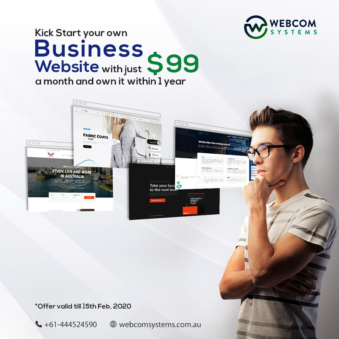 Kick Start Your Own Business Website With Just 99 A Month In 2020 Website Design Agency Website Design Website Design Services