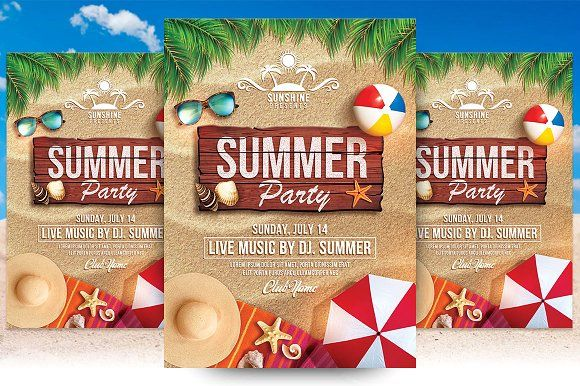 Summer Party Flyer Template Creativework  Templates  Templates