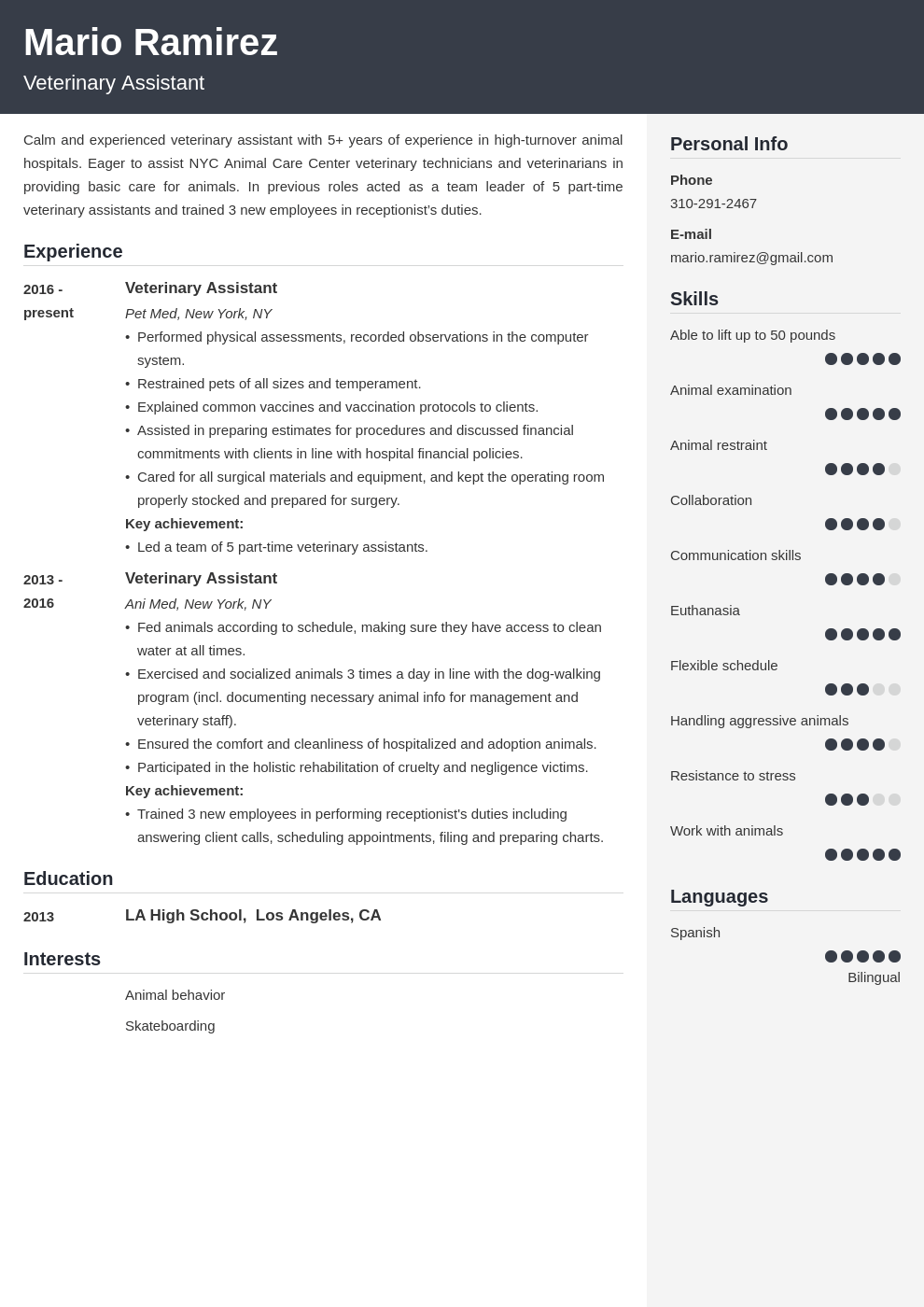veterinary assistant resume example template cubic in 2020