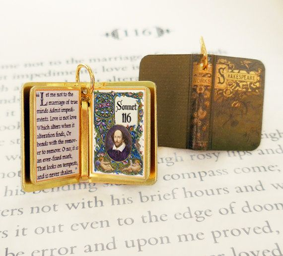 Miniature Book Quote Pendant Sonnet 116 By William Shakespeare