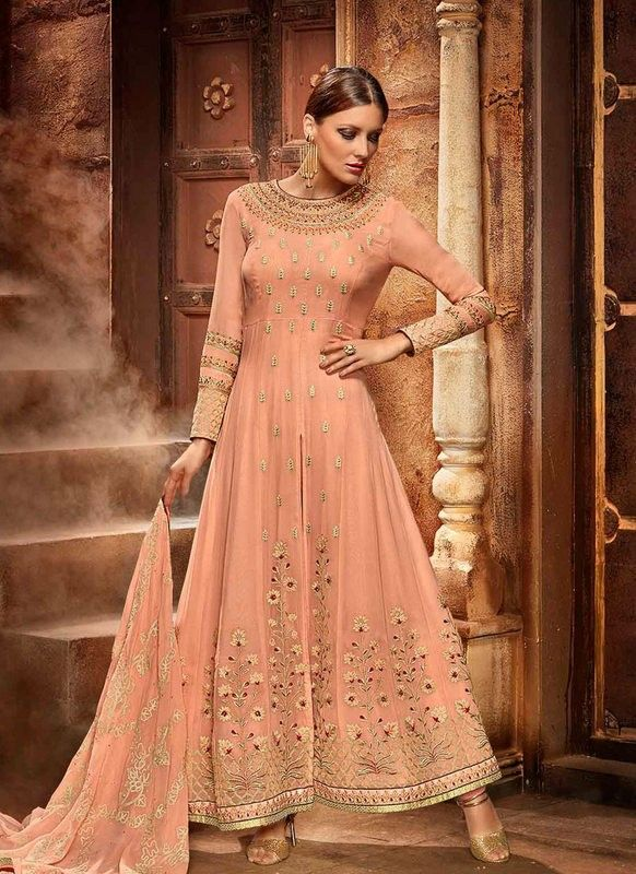 84c126a40a buy saree online Peach Colour Faux Georgette Party Wear Embroidered Work  Salwar Suit Buy Saree online - Buy Sarees online