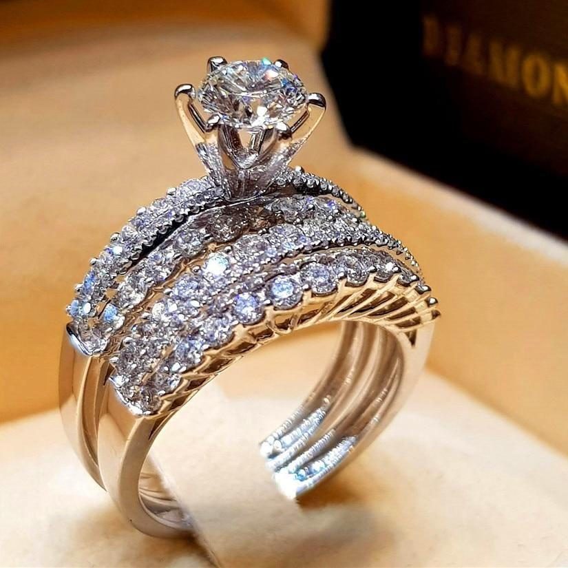 Cute Female Crystal White Zircon Stone Ring Set Luxury 925 Silver Engagement Diamond Engagement Wedding Ring Silver Wedding Jewelry Diamond Wedding Rings Sets