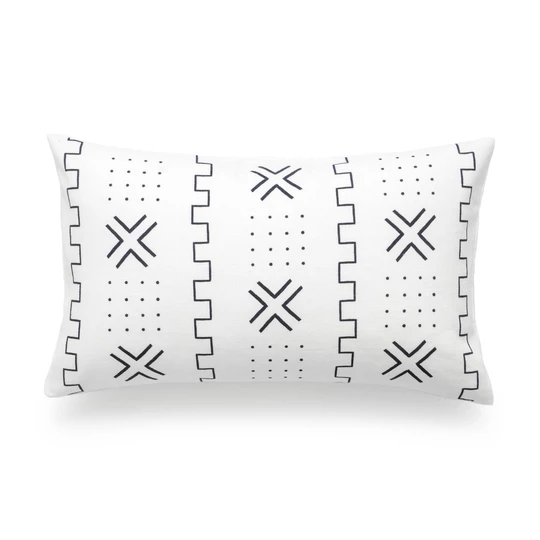 African Mud Cloth Lumbar Pillow Cover X Dots Black And White 12 X20 African Mud Cloth Pillows Pillow Covers