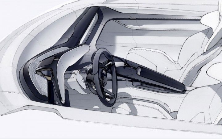 Porsche Mission E Concept Interior Design Sketch