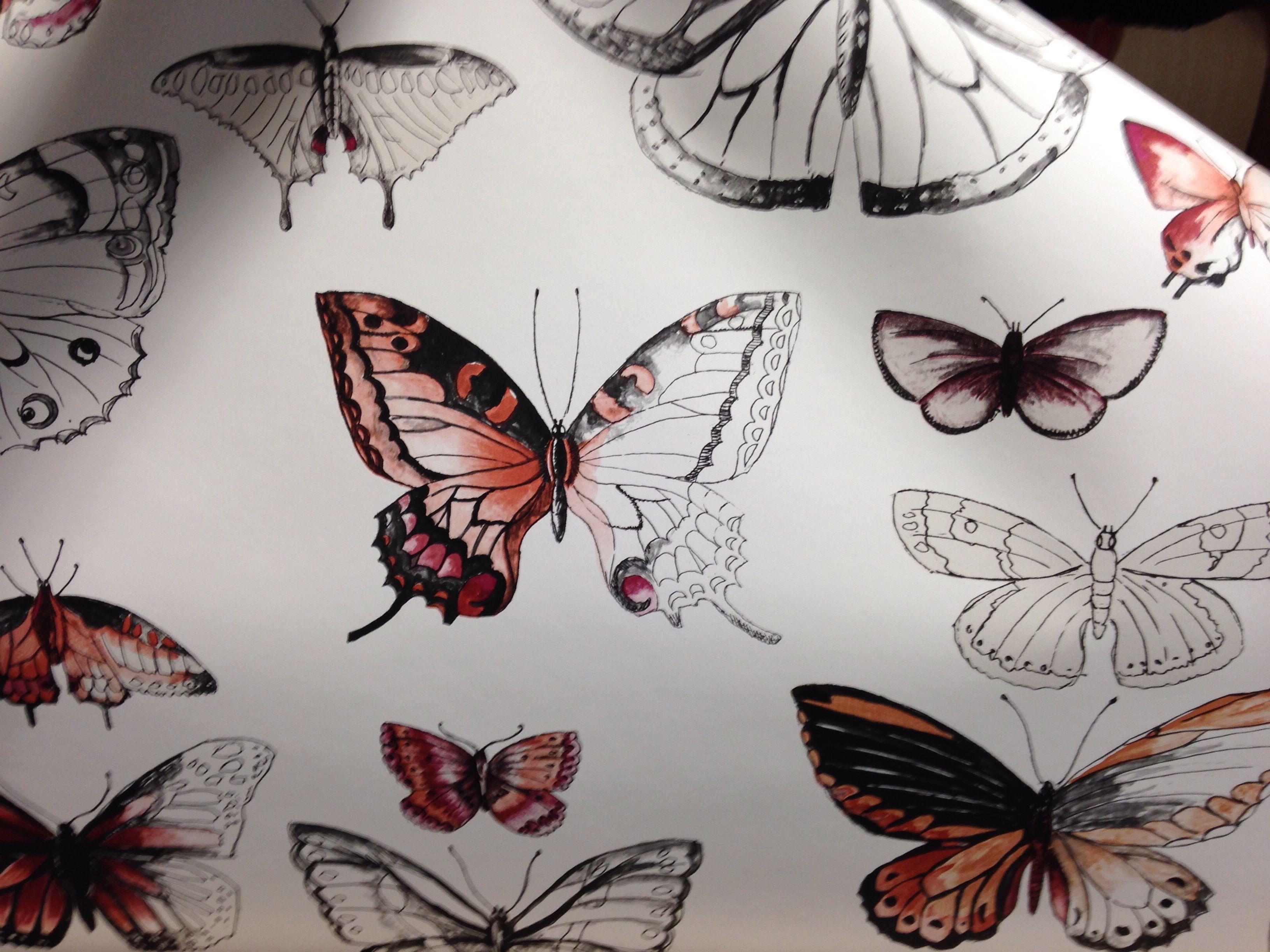 Wallpaper Homebase Fresco Butterflies Red Living Room