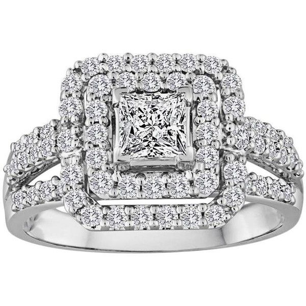 Princess Cut 0.51 Carat Double Diamond Halo Ring (3,790 CAD) ❤ liked on Polyvore featuring jewelry, rings, multiple, 18k ring, princess cut halo diamond ring, white diamond jewelry, diamond jewelry and 18k diamond ring