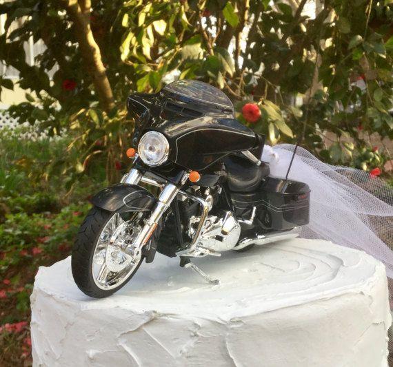 Motorcycle Cake Topper Wedding Harley Davidson 2015 Street Glide Black Birthday