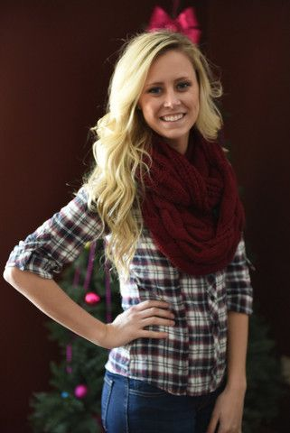 Knit Scarf $20 – The Farmer's Wife Boutique Multiple Colors: Burgundy, Navy, Ivory, Taupe, Black www.thefarmerswifeboutique.com
