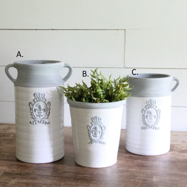 White Ceramic Pot And 2 Vases With Gray Emblem Decorating Ideas