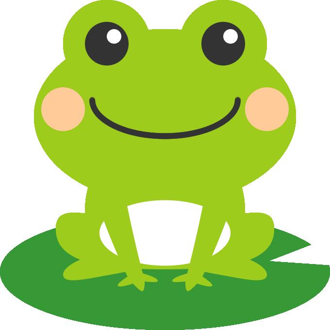 葉っぱの上に乗った可愛い蛙かえるのイラスト Frog カエル