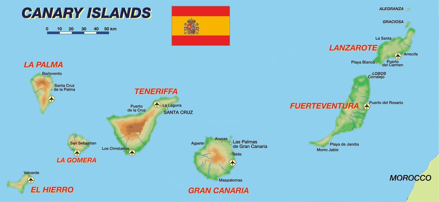 Cartina Canarie Spagna.Mappa Isole Canarie Cartina Isole Canarie Isole Canarie Isola La Gomera