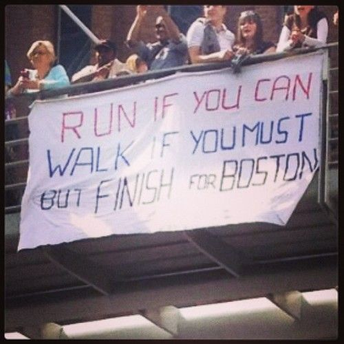 Awesome sign at #LondonMarathon in honor of #Boston! #bostonstrong #bostonmarathon #runchat