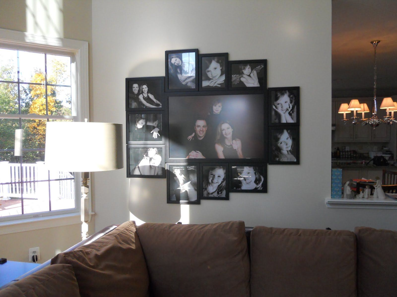 Love this cluster of photos - one big frame surrounded by smaller ...