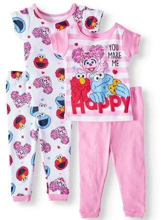 Sesame Street Girls 4-Piece Cotton Pajama Set