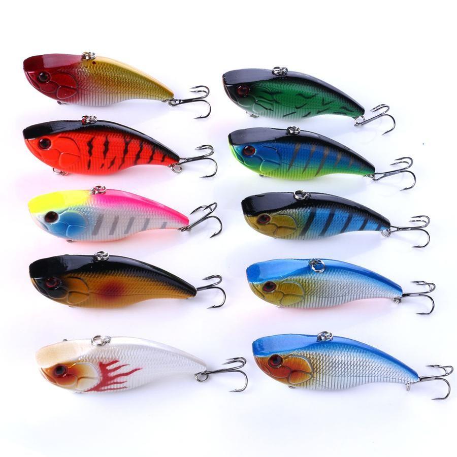 10PCS Lot Crankbaits 7.5cm//18g Minnow Fishing Lures Hook Tackle Bass Hard Bait