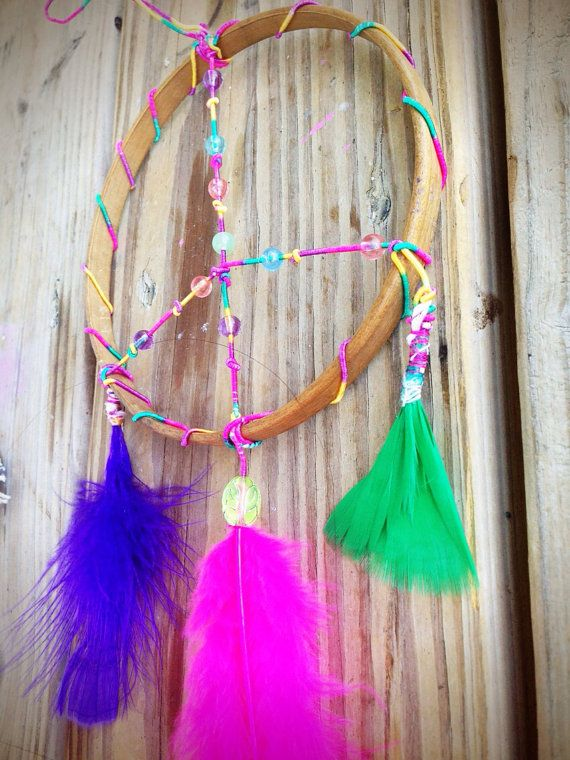 Rainbow Peace Sign Dreamcatcher Bedroom Decor by DreamReel | Hoops ...