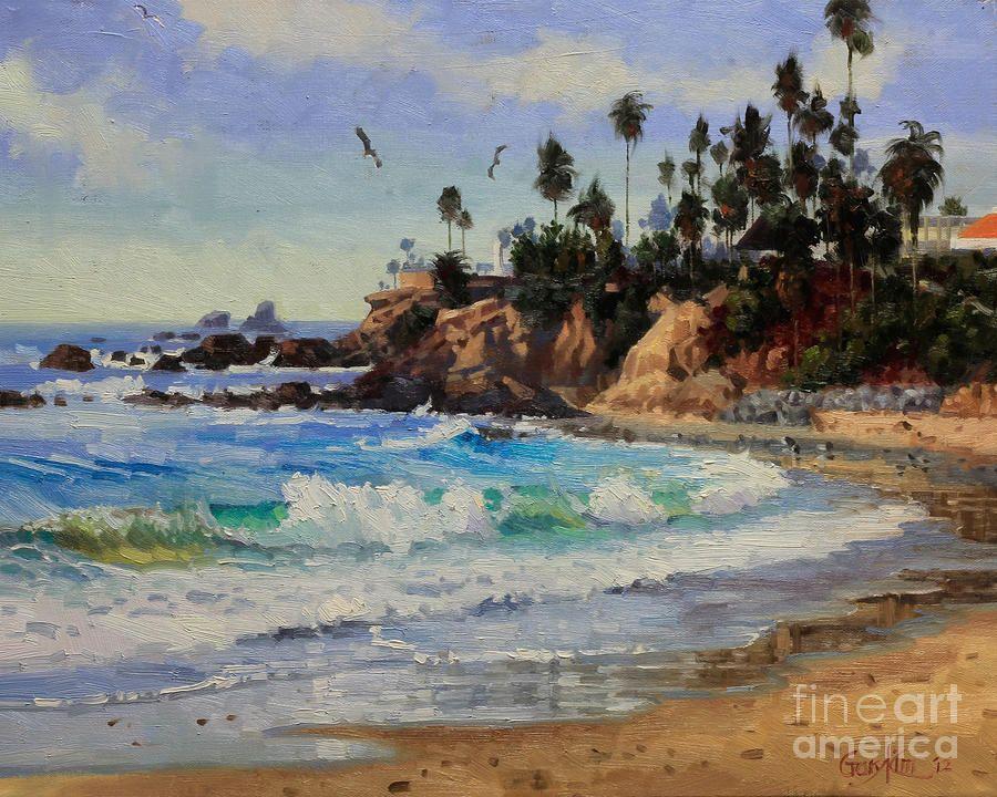 Laguna Beach By Gary Kim Beach Artist Beach Painting Beach Canvas