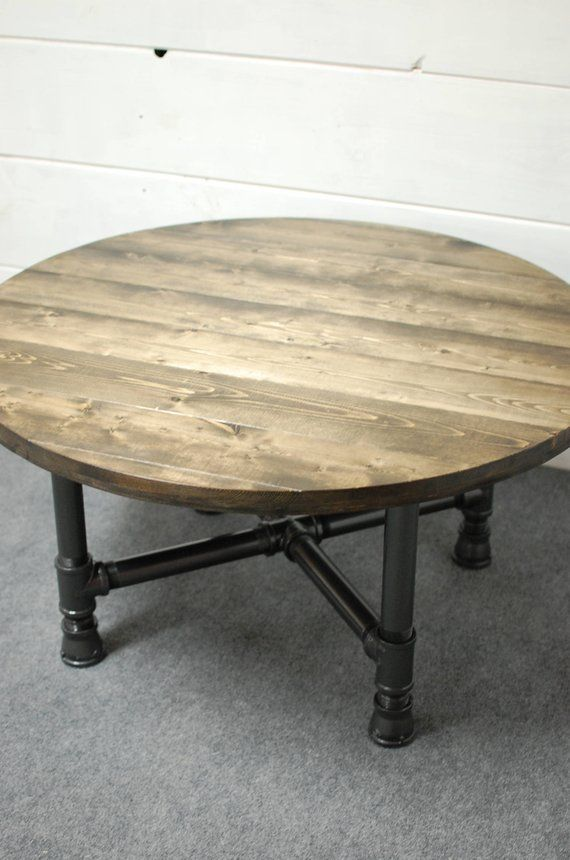Round Coffee Table Wood Round Industrial Coffee Table Reclaimed