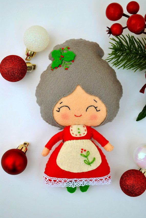 READY TO SHIP Mrs Santa with a Christmas tree dolls set Mrs | Felt ...