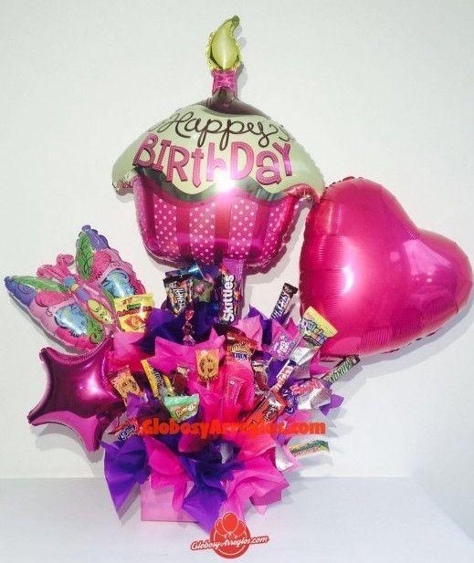 Arreglo de globos cumplea os morado regalo para ni a de for Arreglos de globos para xv anos