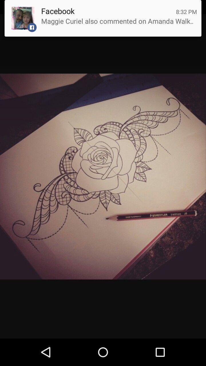 Breast Plate Chest Sternum Underboob Tattoo Ink Rose Simple
