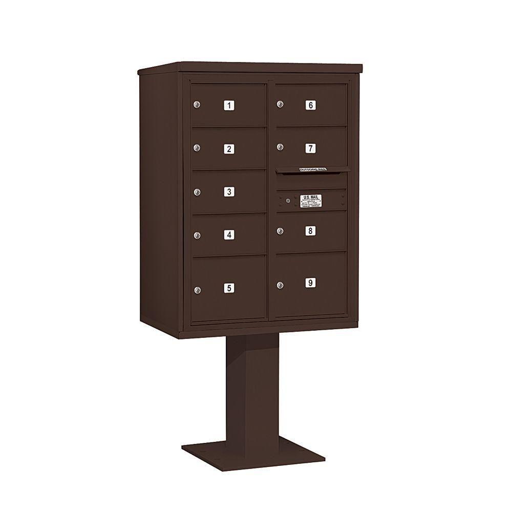 3400 Series 69-1/8 in. 11 Door High Unit Bronze 4C Pedestal Mailbox with 7 MB2/2 MB3 Doors