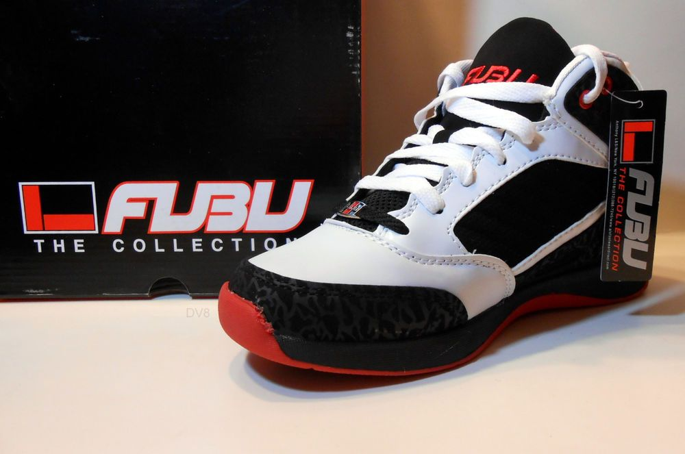 916eaab04c FUBU Mens Basketball Shoe COLLINS White Black Red Brand New wBox USA Size 9  M  Fubu  BasketballShoes