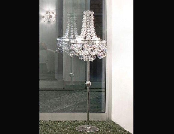Idho luxury designer italian floor lamp shown in chromed steel structure with spheres in blown glass