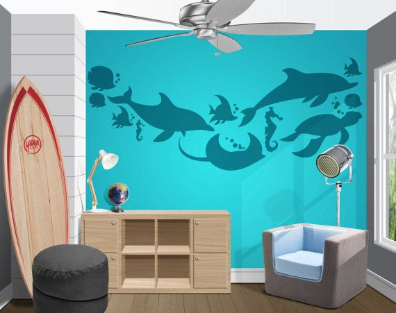 Tone On Tone Underwater Silhouette Vinyl Wall Decal And Stickers