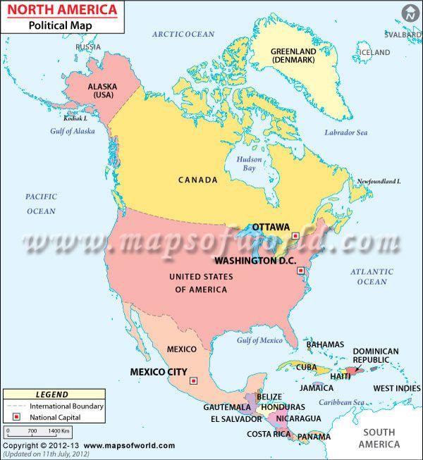 North America Political Map Maps Pinterest