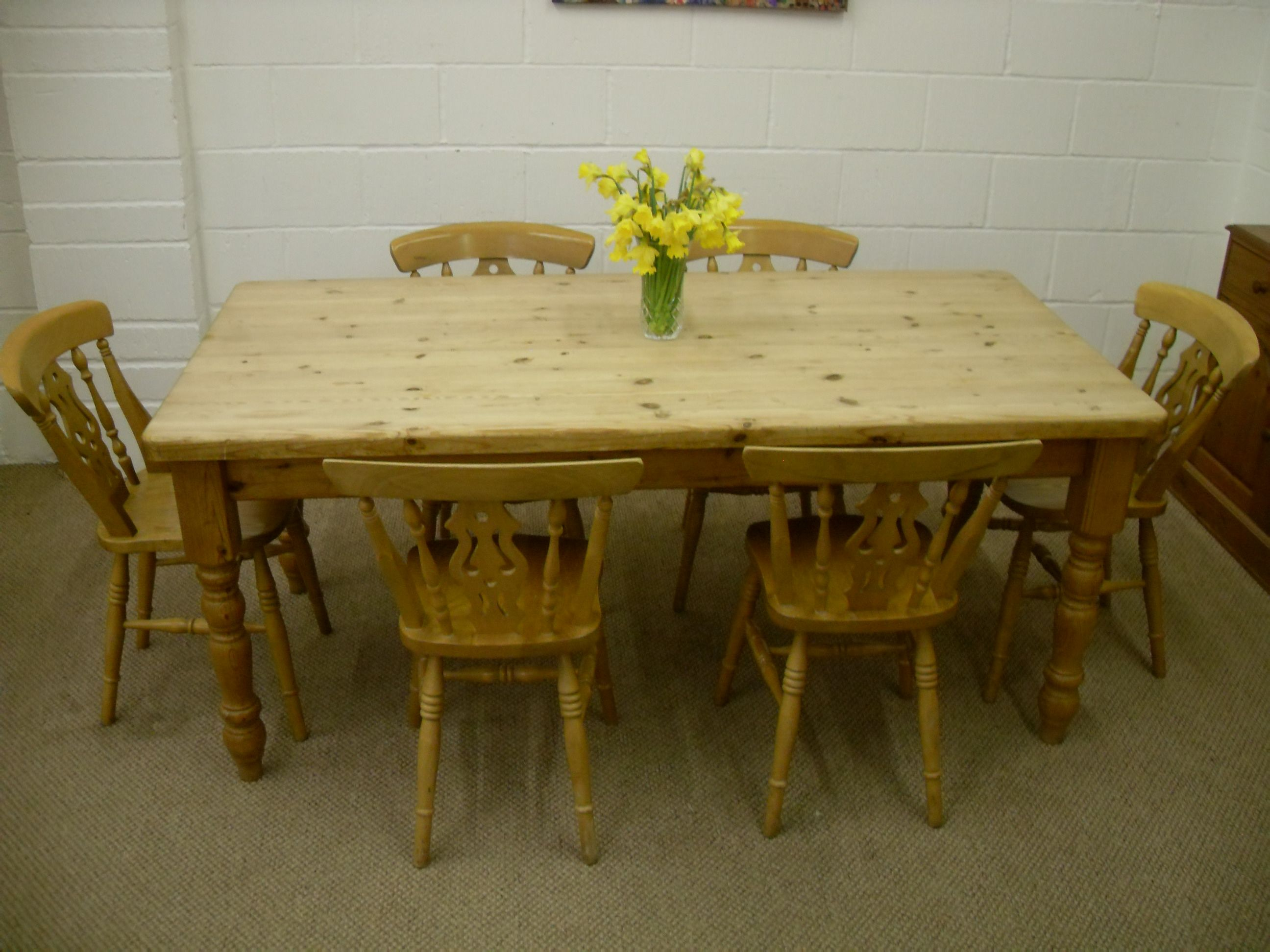 6 Ft Waxed Solid Pine Farmhouse Table  6 Chairs  £395 Http Captivating Pine Dining Room Table And Chairs Design Inspiration