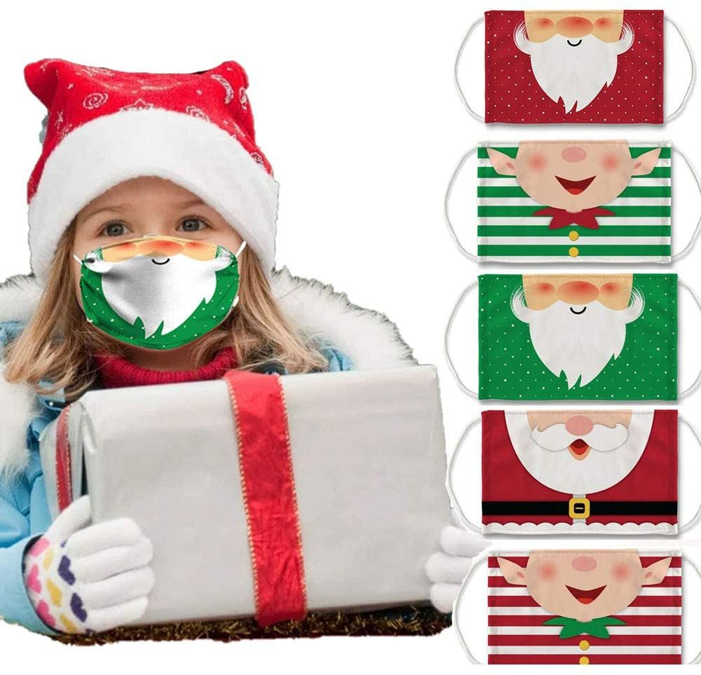 5PCS Fashion Christmas Reusable Kids Cute Pattern Covering Adjustable Washable Breathable Soft Cotton Face Covering for Outdoor (Style G) #christmasdress #christmascloths #oldfashioned #christmasstyle #christmasoutfit