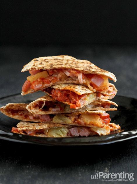 Hawaiian Pizza Quesadillas: Fill your favorite flour tortillas for pizza-inspired quesadillas.   allParenting.com