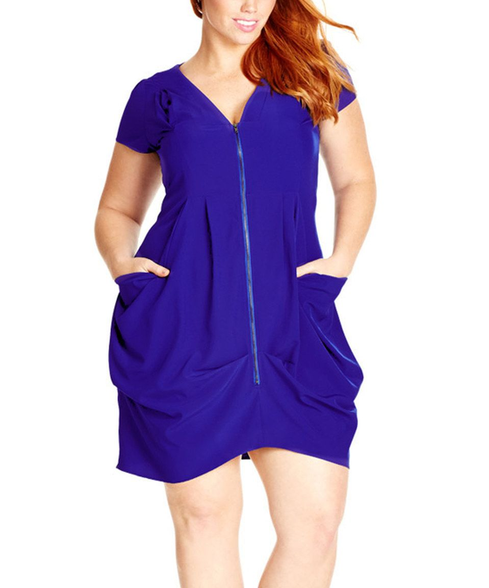 94ff77e5b97 City Chic Cobalt Pleat Zip-Front Tunic - Plus by City Chic #zulily  #zulilyfinds