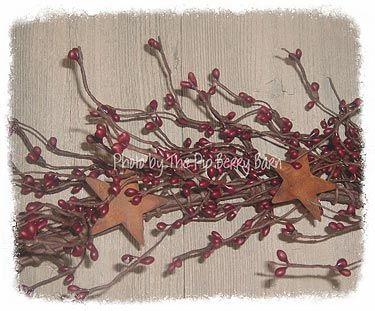 Burgundy Berry Garland with Rusty Stars