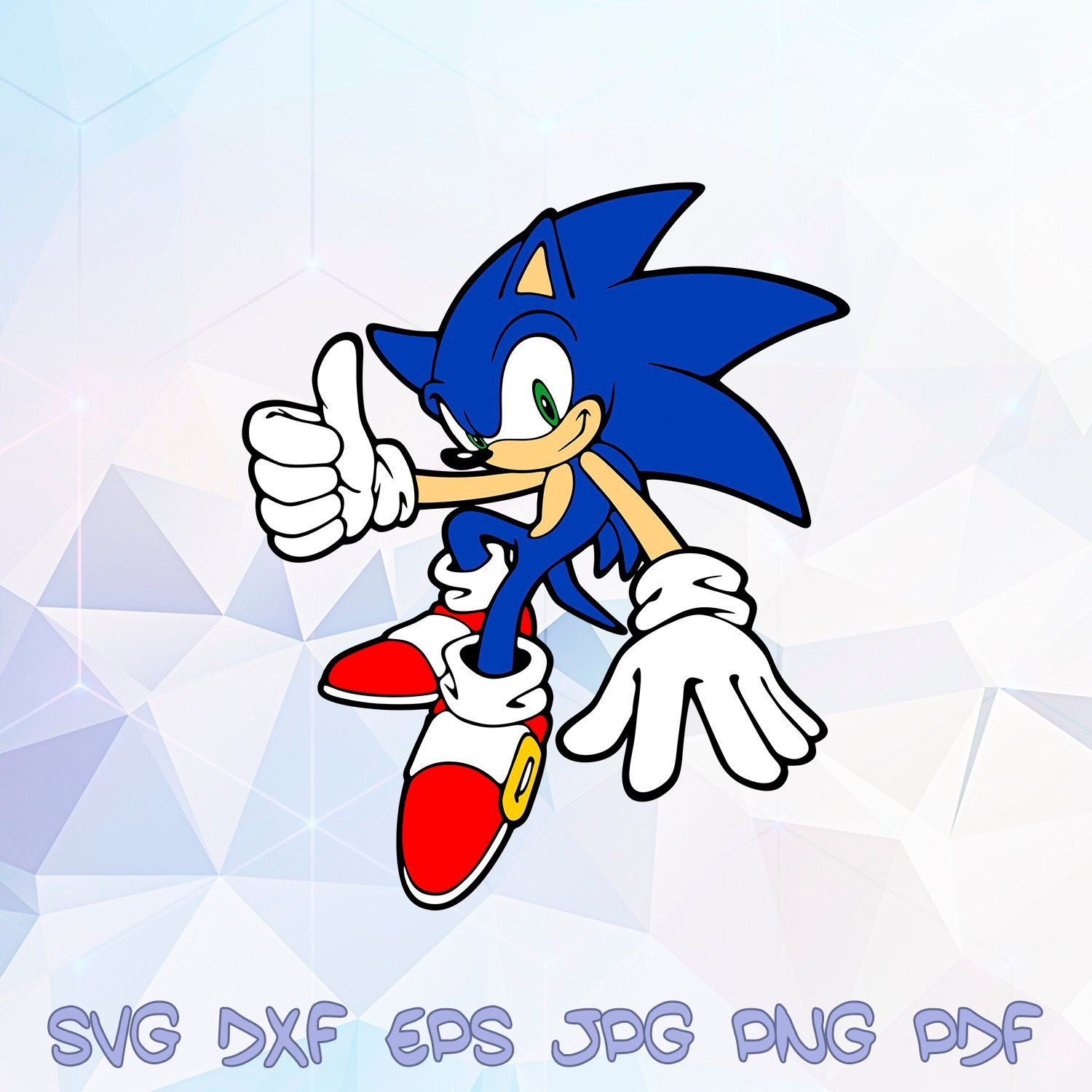 Sonic The Hedgehog Svg Thumbs Up Dxf Silhouette Cricut Birthday Party Supplies Decorations Templates Paper Crafts Iron On Transfer Clipart