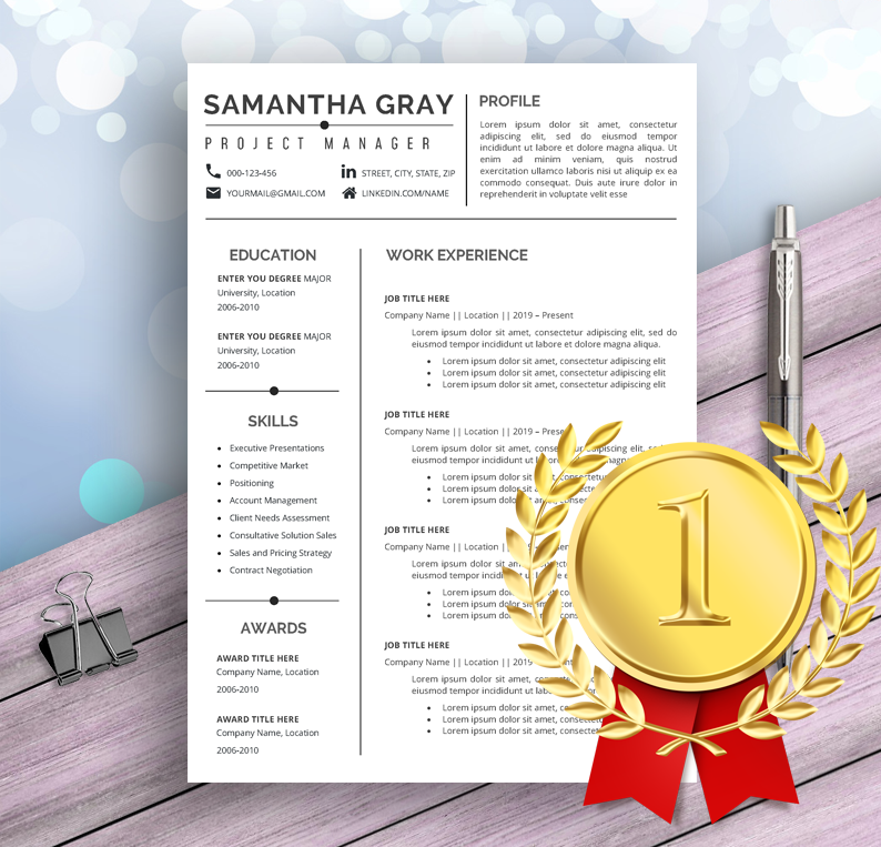 Project Manager Resume Template For Word Professional Creative Modern Resume Design Cover Letter Cv Design Project Manager Resume Resume Template Manager Resume