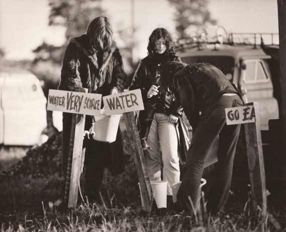1971 GLASTONBURY FESTIVAL Original RaRe English Real Press Photography from London… Hippies Waiting for Water Music, Magic and Cosmic Energy