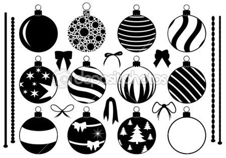 Set Of Different Christmas Decorations Christmas Decorations Ornament Drawing Christmas Tree Drawing