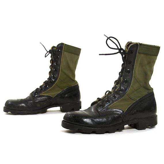 d46c3ad43f4 Army Jungle Boots Vintage 80s Black Leather & Green Canvas Lace Up ...