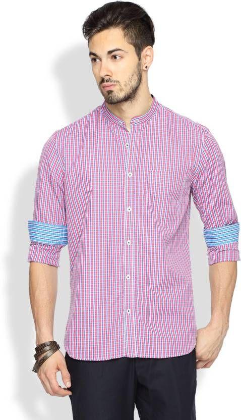 Brooklyn Blues Pink Checkered Casual Shirt #PinkCheckedShirt ...