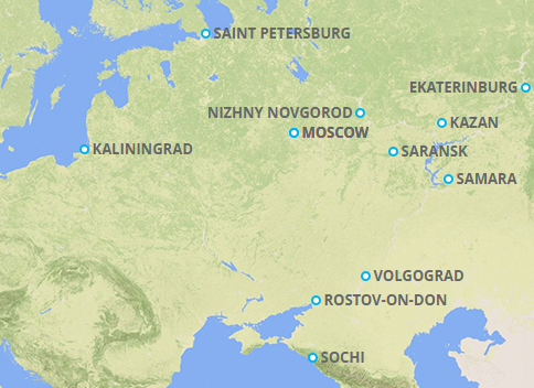 World Cup Russia Host Cities Worldcup Russia World Cup - Saransk map