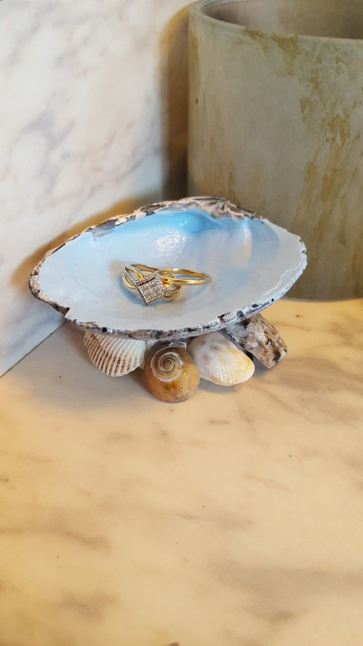 Seashell ring holder made with shells from our destination wedding!