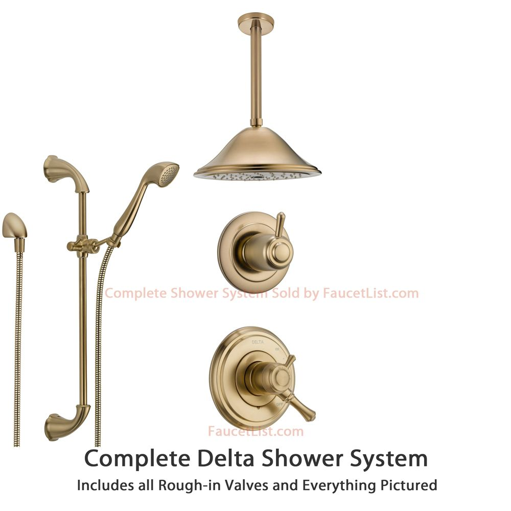Delta Cassidy Champagne Bronze Shower System With Dual Control
