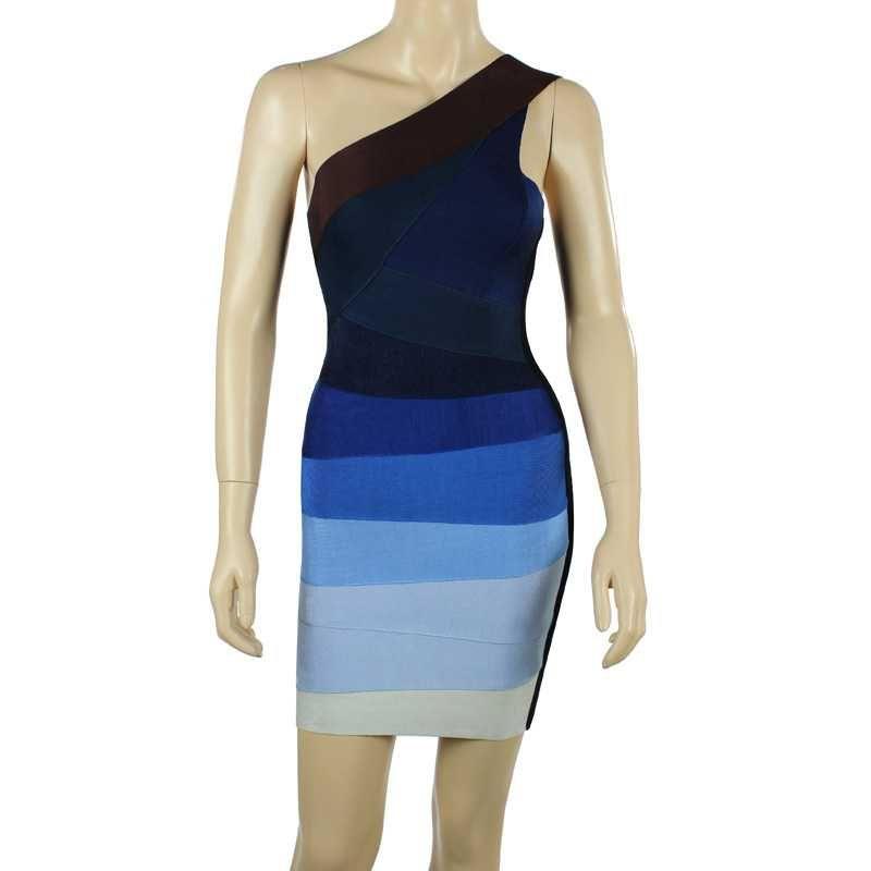 Herve Leger Alexis Ombre Blue One Strap Bandage Dresses